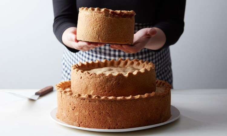 Thanksgiving dinner in a three tier cake.
