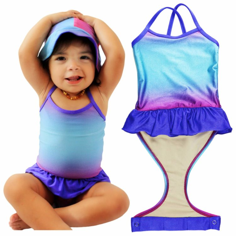Image of girl wearing a Fasten bathing suit