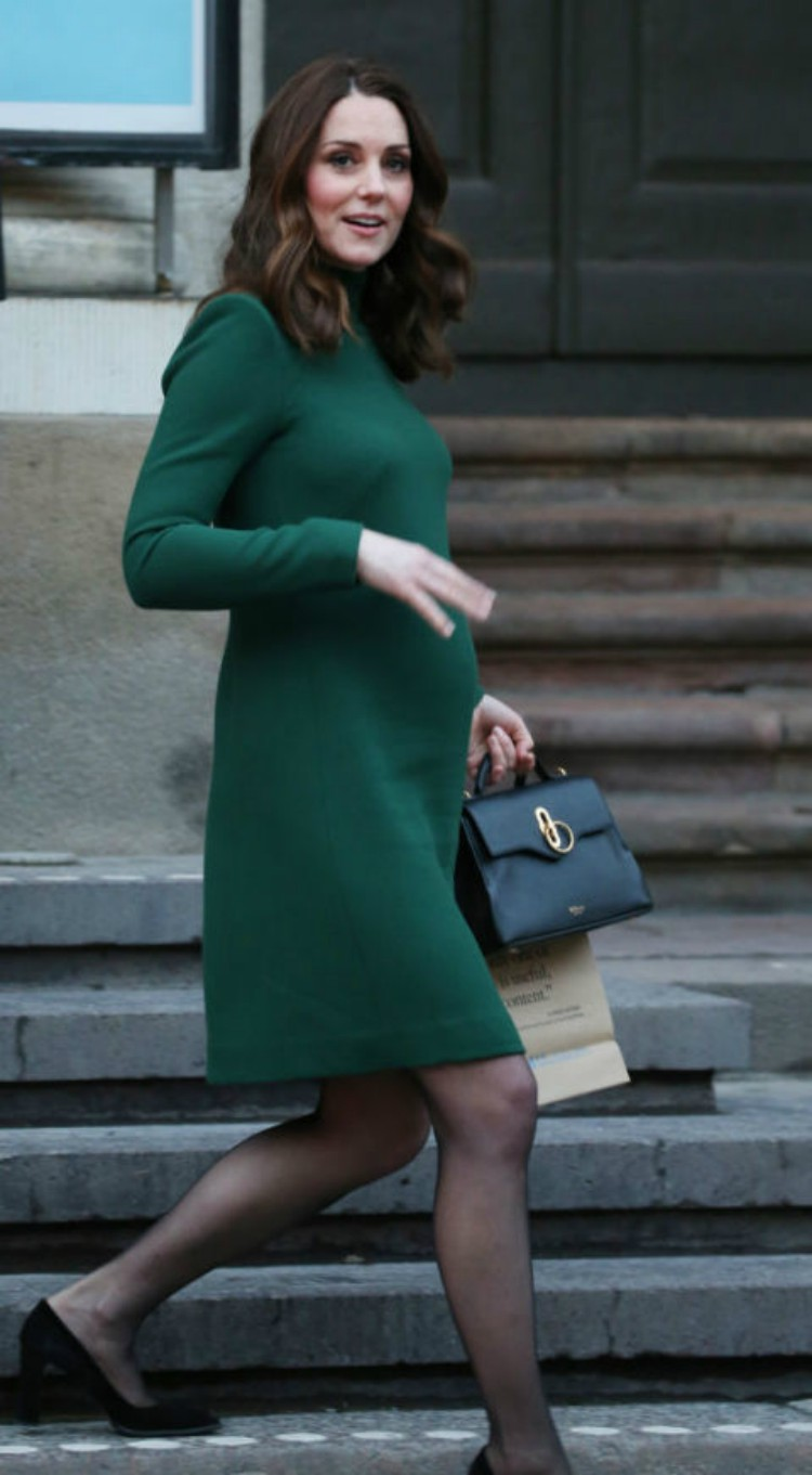 Image of Kate Middleton in green dress.