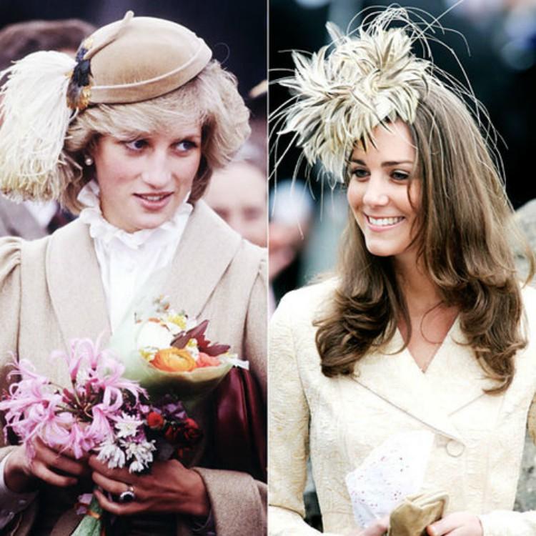 Image of Princess Diana and Kate Middleton wearing similar tan feather fascinators.
