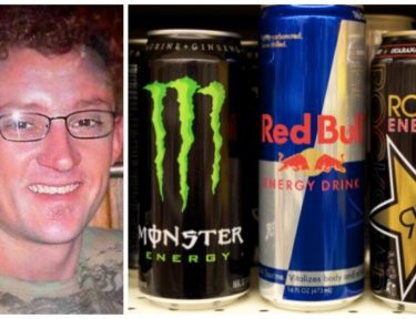 Image of man and energy drinks.