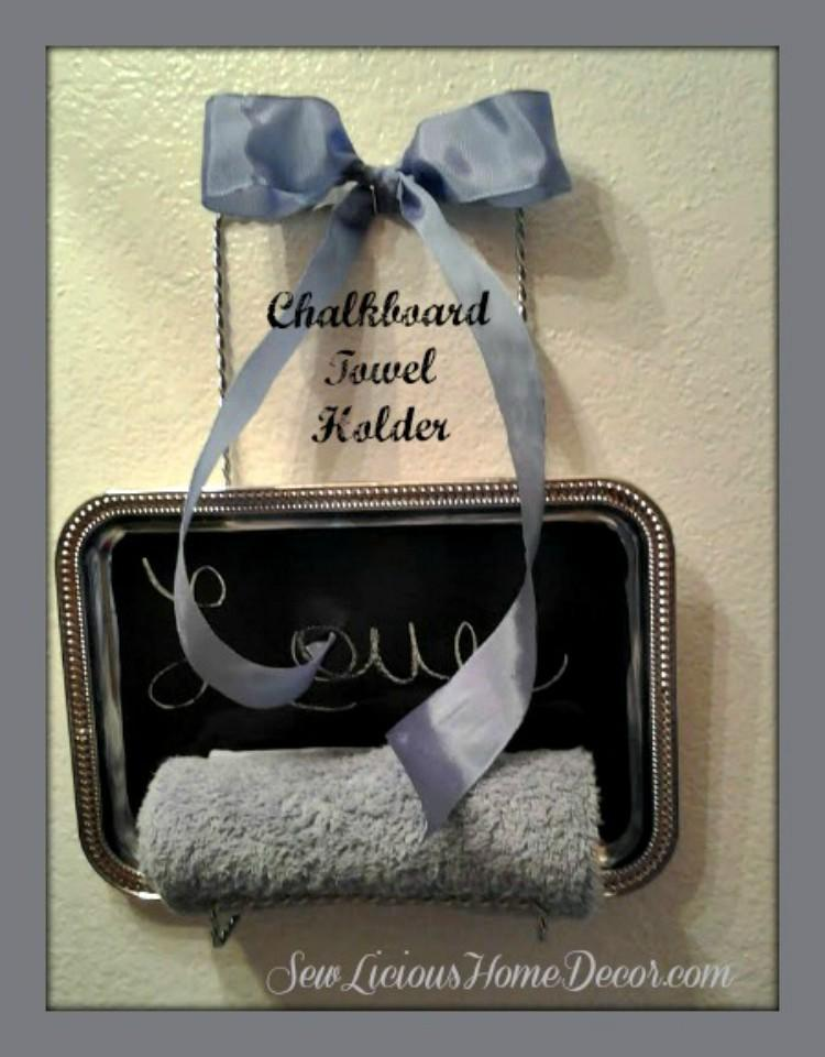 Tray turned into bathroom towel holder.