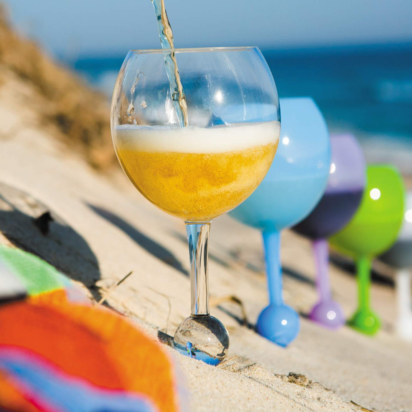 Original Floating Glass, Acrylic and Shatterproof Wine, Beer, Cocktail, Drinking Glasses for Pool, Beach, Camping and Outdoor Use