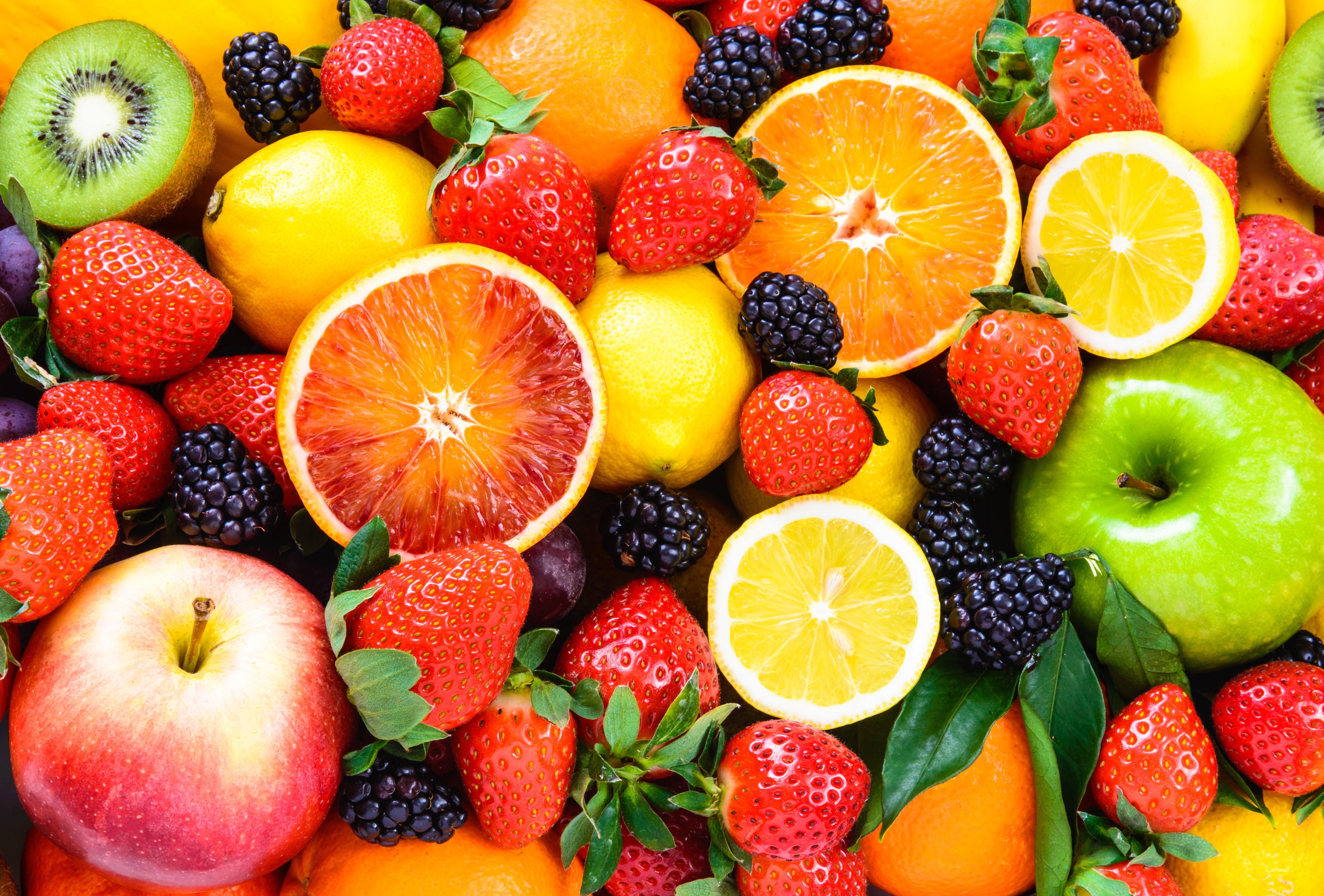 Fresh fruits mixed.Fruits background.