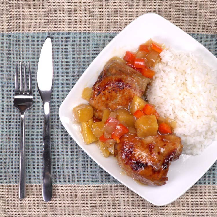 Slow Cooker Pineapple Chicken plated