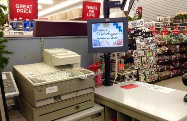 Image of cash register at Michaels.
