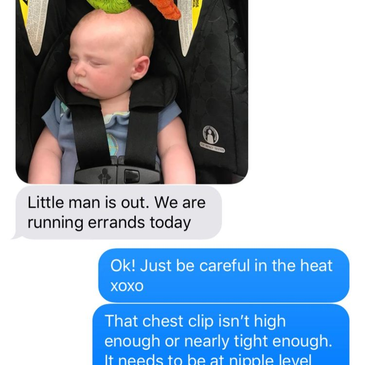 Image of text message from wife to her husband about baby carseat safety