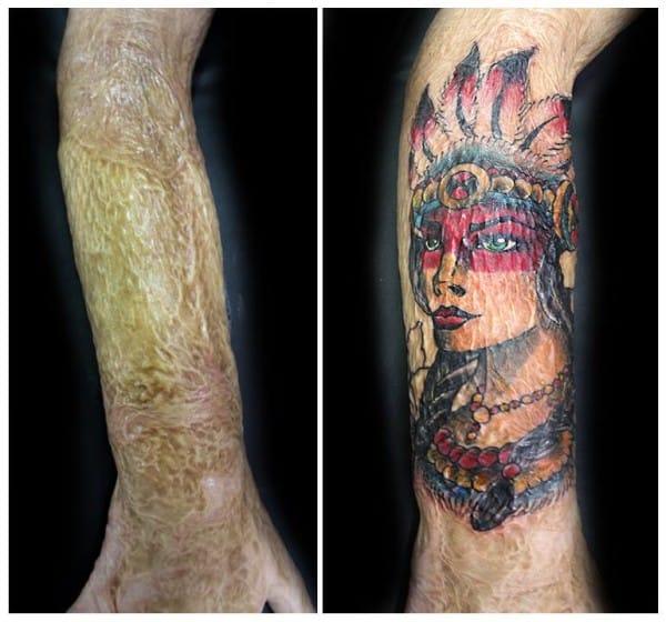 Tattoo covering a forearm burn.