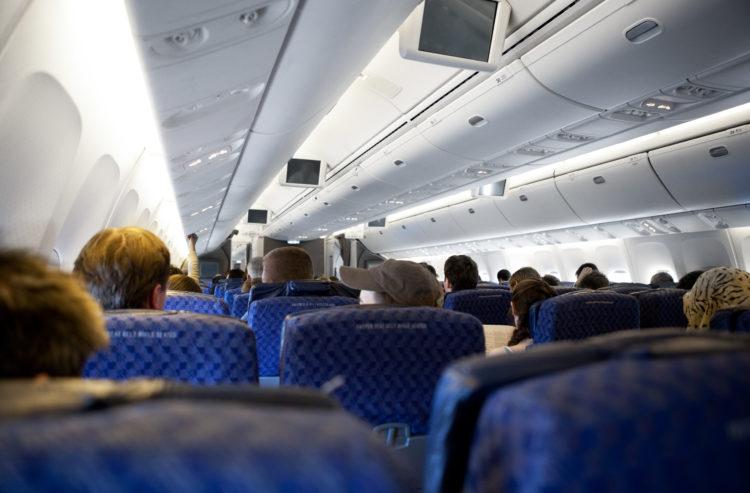 Interor of a passenger airplane.