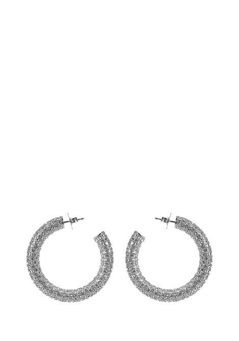 Amina Muaddi Cameron Medium Earrings Amina Muaddi | 48 | CAMERONHOOPMDARKSILVER