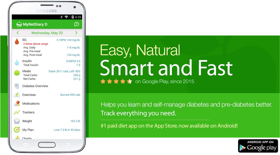 MyNetDiary Diabetes Tracker is the best Android diet app plus easy and comprehensive diabetes tracking.