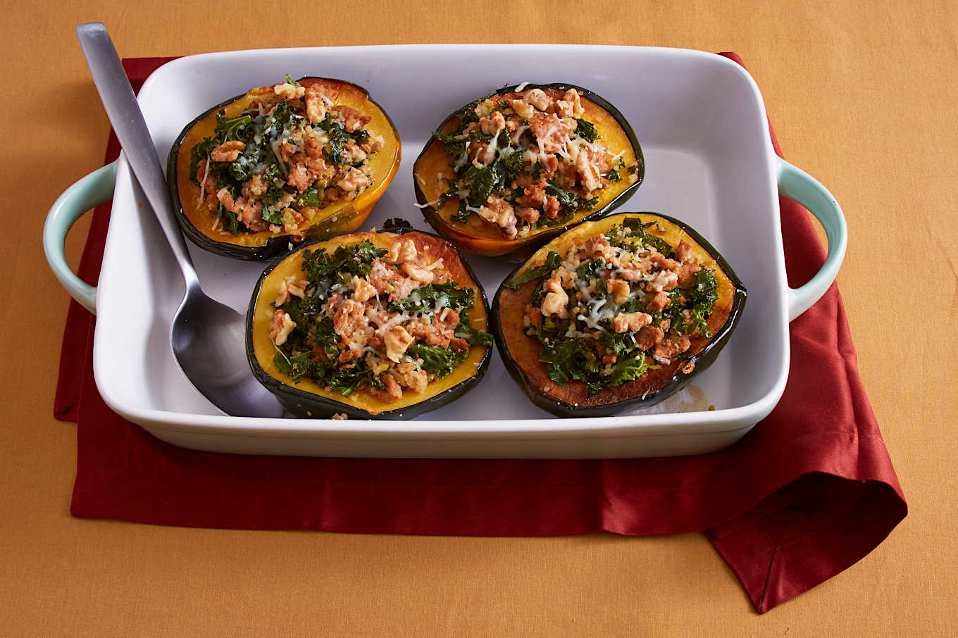 Quinoa stuffed acorn squash with ground turkey