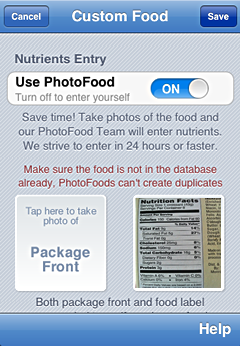 iPhone screenshot PhotoFoods