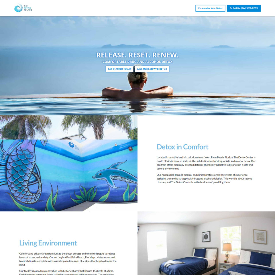 the detox center website design