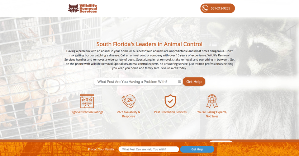 landing page design for wildlife removal services of florida