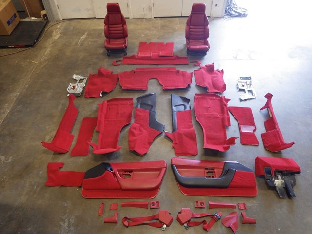 1991-1996 C4 Corvette Complete Red Interior Seats, Door Panels Carpet 28K  Miles