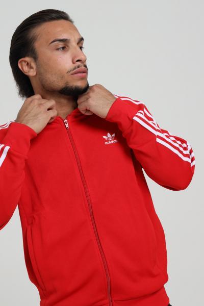 ADIDAS Felpa adicolor classic primeblue uomo rosso adidas con zip e bande laterali  Felpe   GF0196.