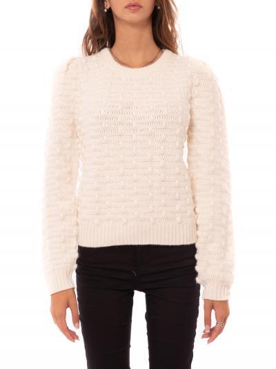 MICHAEL KORS crochet puff slv swtr  T-shirt | MF06PCYFJW110BONE