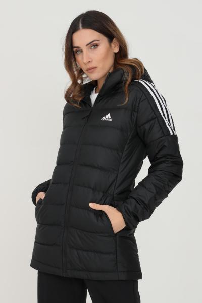 ADIDAS Parka imbottito essentials donna nero adidas con bande a contrasto  Giubbotti | GH4590.