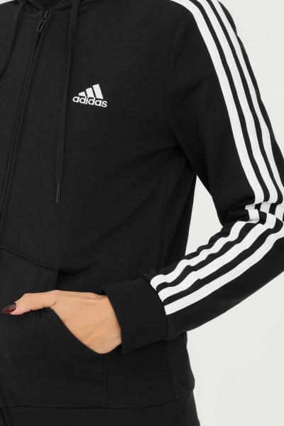 ADIDAS Felpa con cappuccio essentials french terry 3-stripes full-zip donna nero adidas  Felpe   GL0792.