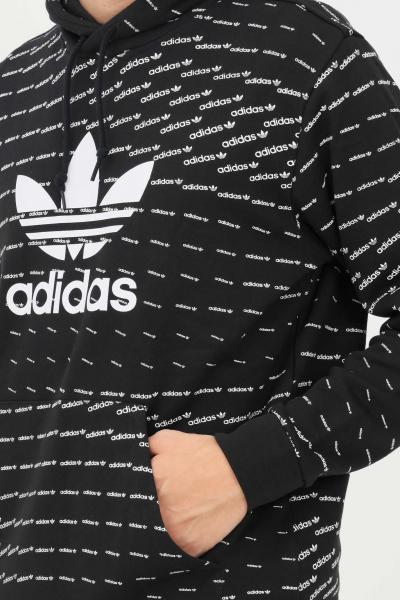 ADIDAS Felpa uomo nero adidas con cappuccio e stampa pattern allover  Felpe   H13492.