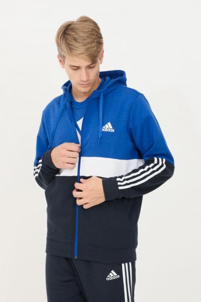 ADIDAS Felpa uomo blue adidas con cappuccio e zip  Felpe   H14645.