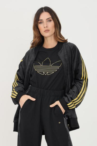 ADIDAS Felpa track top in velvet with embossed adidas orginals monogram nero con zip  Felpe | H18020.