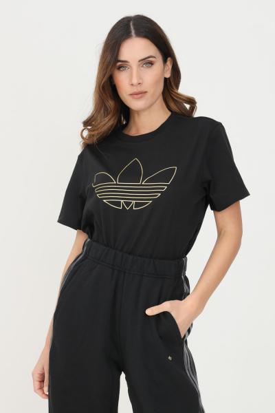 ADIDAS T-shirt with golden trefoil print donna nero adidas a manica corta  T-shirt | H18026.