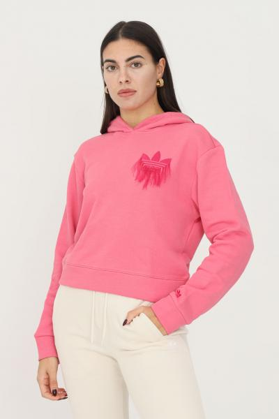 ADIDAS Felpa hoodie cropped with trefoil fringe embroidery donna rosa adidas  Felpe   H18072.
