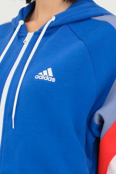 ADIDAS Felpa blue donna adidas con zip e cappuccio colorblock  Felpe   H20222.
