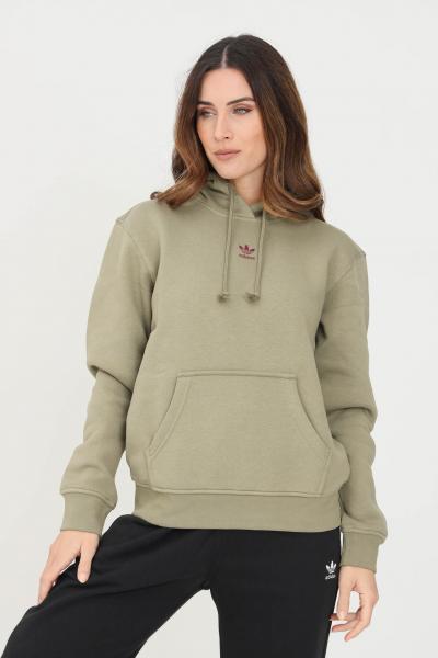 ADIDAS Felpa hoodie adicolor essentials fleece donna verde adidas con cappuccio  Felpe   H34727.