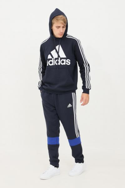 ADIDAS Pantaloni essentials fleece colorblock uomo blu adidas  Pantaloni   H64178.