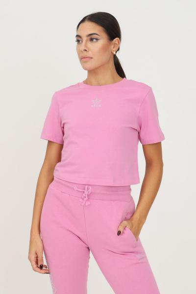 ADIDAS T-shirt adidas 2000 luxe cropped donna rosa a manica corta  T-shirt | HF9199.