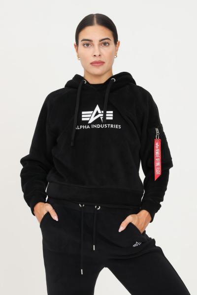 ALPHA INDUSTRIES Felpa con cappuccio polar fleece donna nero con ricamo logo alpha industries  Felpe | 12805503