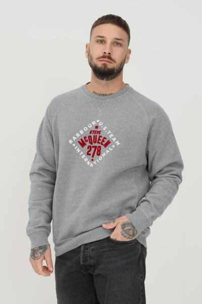 BARBOUR INTERNATIONAL Felpa uomo basic grigio barbour girocollo con logo frontale  T-shirt | 212-MOL0313MOLGY52