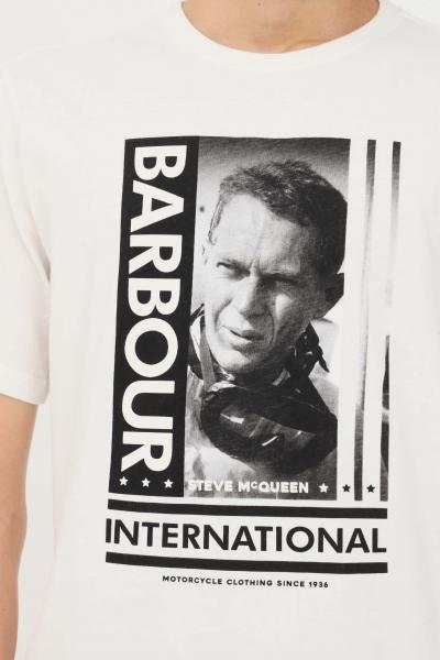 BARBOUR INTERNATIONAL T-shirt uomo bianco barbour a manica corta con stampa sul fronte  T-shirt | 212-MTS0864MTSWH32