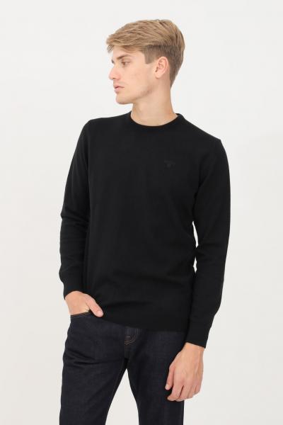 BARBOUR Maglioncino uomo nero barbour modello girocollo con logo ricamato tono su tono  T-shirt | 212-MKN0345MKNBK31