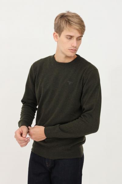 BARBOUR Maglioncino uomo verde barbour modello girocollo con logo ricamato tono su tono  T-shirt | 212-MKN0345MKNGN71