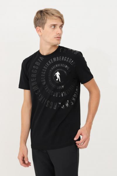 BIKKEMBERGS T-shirt uomo nero bikkembergs a manica corta con stampa lucida  T-shirt   C410152E2296C74