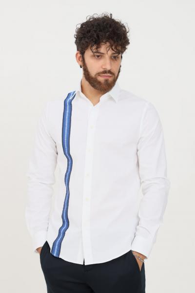 BIKKEMBERGS Camicia uomo bianco bikkembergs modello casual con banda logata  Camicie   CC09581S2931A00