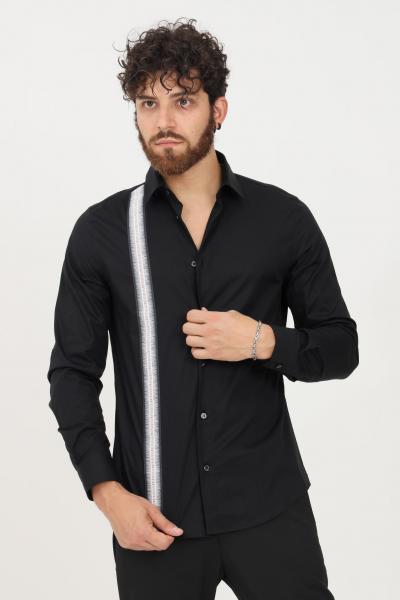 BIKKEMBERGS Camicia uomo nero bikkembergs modello casual con banda logata  Camicie   CC09581S2931C74
