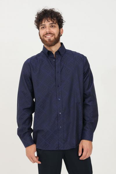 BIKKEMBERGS Camicia uomo blu bikkembergs modello casual con stampa logo allover  Camicie   CC09900T225A6054