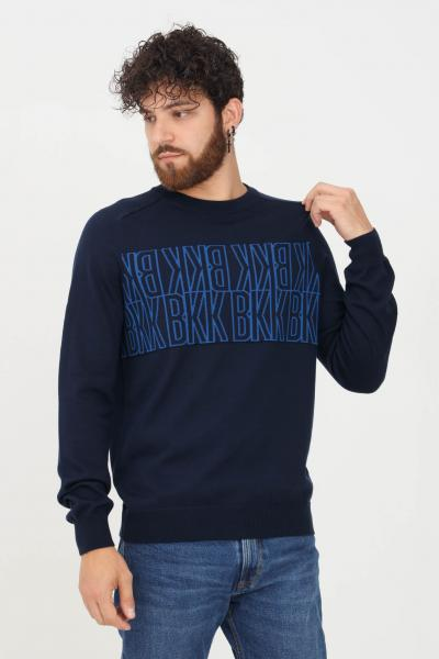 BIKKEMBERGS Maglioncino uomo blu bikkembergs con stampa logo frontale  T-shirt   CS17G10X1376Y99