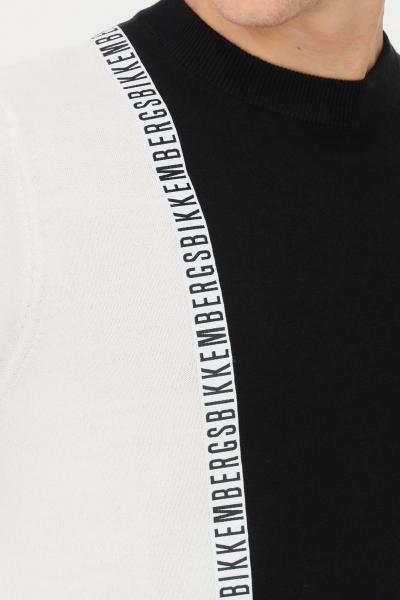 BIKKEMBERGS Maglioncino uomo nero bianco bikkembergs in jacquard girocollo  T-shirt   CS23G90X11484027
