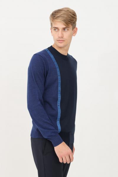 BIKKEMBERGS Maglioncino uomo blu bikkembergs in jacquard girocollo  T-shirt   CS23G90X11484042