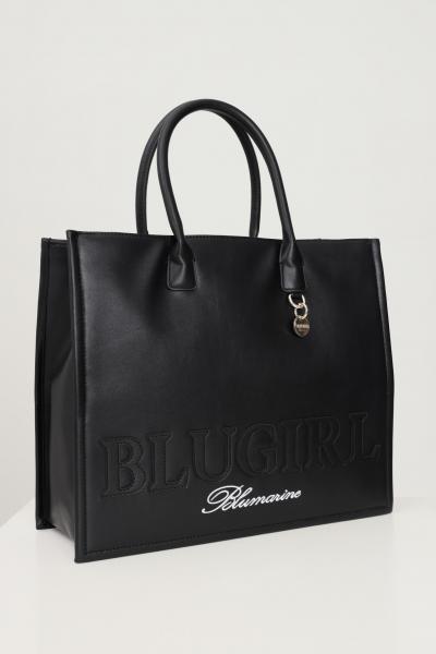 BLUMARINE Shopper donna nero blumarine con ricamo logo a contrasto  Borse | 713B4BN1ZG061899