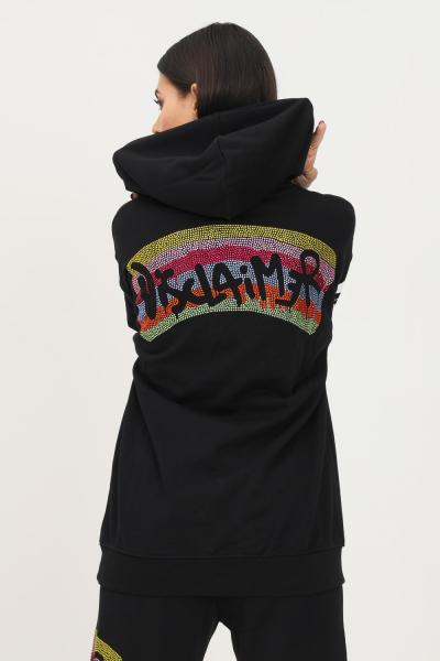 DISCLAIMER Felpa donna nero disclaimer con cappuccio e strass multicolor sul retro  Felpe   21IDS50873NERO