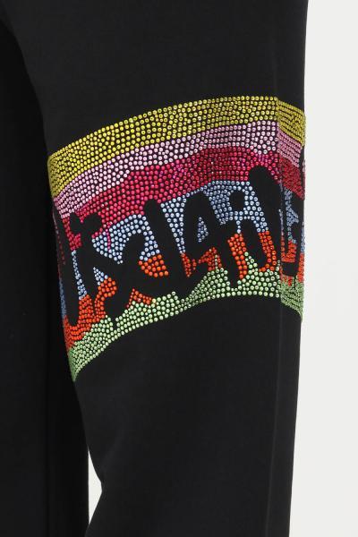 DISCLAIMER Pantaloni donna nero disclaimer con strass multicolor laterali  Pantaloni   21IDS50874NERO