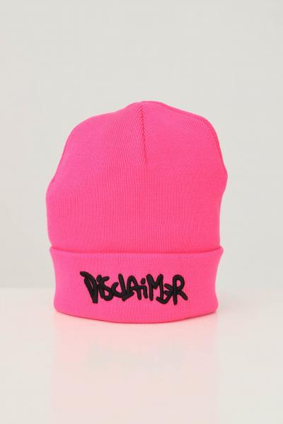 DISCLAIMER Cappello unisex rosa fluo disclaimer con maxi ricamo logo frontale a contrasto  Cappelli   21IDS50920FUXIAFLUO