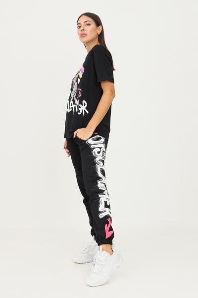 DISCLAIMER Pantaloni donna nero disclaimer modello casual con maxi logo laterale  Pantaloni   21IDS50942NERO-BIANCO